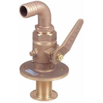 Perko Cast Bronze Seacock with 90 Degree Curved Hose Adapter