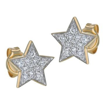 10K Yellow Gold 1/5 ct. TDW Diamonds Five Point Star Stud Earrings by Beverly Hills Charm