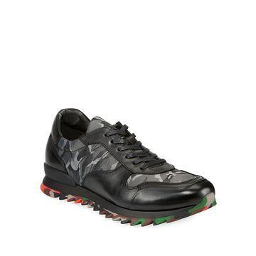 Men's Camo Print Leather Sneaker