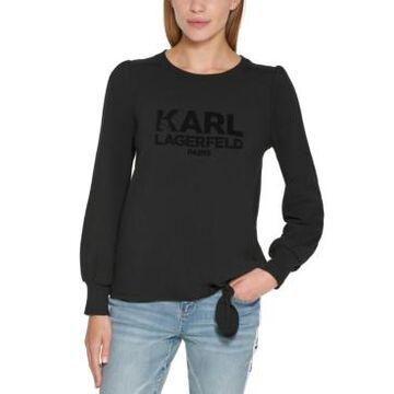 Karl Lagerfeld Paris Embellished Side-Tie Sweatshirt