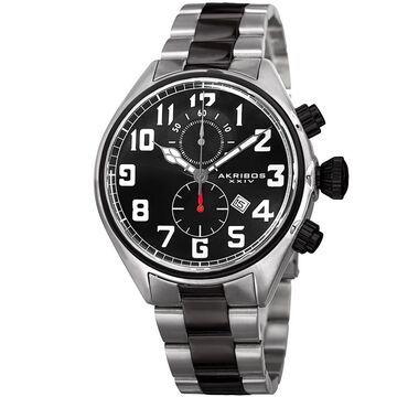Akribos XXIV Men's Quartz Chronograph Stainless Steel Two-Tone Bracelet Watch (Silver-tone/Black)