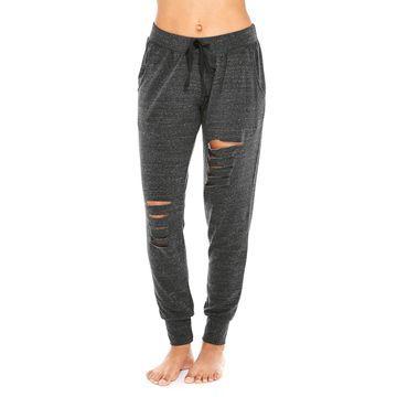 Mid-Rise Slash-Front Jogger Pants