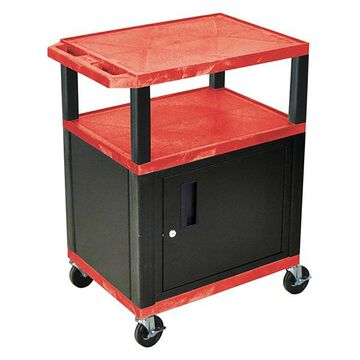 Luxor Tuffy Red 3-Shelf AV Cart With Black Legs, Cabinet and Electric