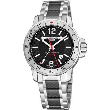 Raymond Weil Men's 3800-SCF-05207 'Nabucco' Black Dial Stainless Steel/Carbon Fiber Bracelet GMT Automatic Watch