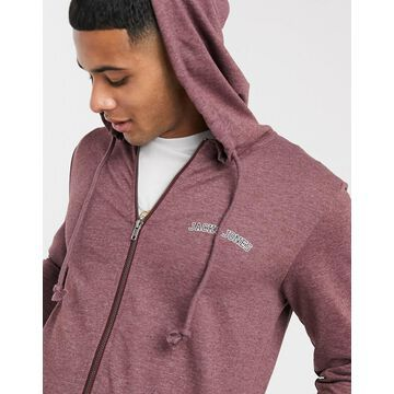 Jack & Jones Originals zip through hoodie-Red
