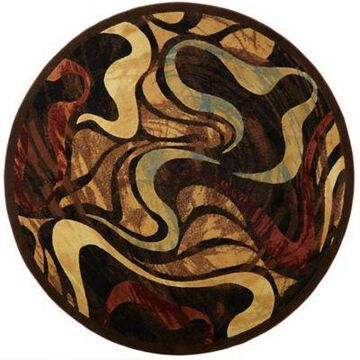 Home Dynamix Catalina Picasso 7'10 Round Area Rug in Brown/Black/Beige