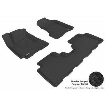 3D MAXpider 2005-2009 Hyundai Tucson Front & Second Row Set All Weather Floor Liners in Black Carpet