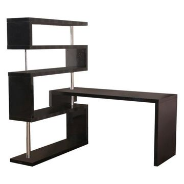 HomCom Rotating Home Office Corner Desk and Shelf Combo Black