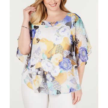 Plus Size Printed Poncho Top, Created for Macys