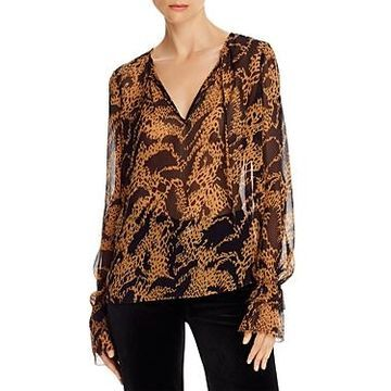 Paige Jojie Silk Cheetah Blouse