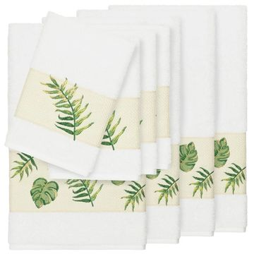 Authentic Hotel and Spa Turkish Cotton Palm Fronds Embroidered White 8-piece Towel Set