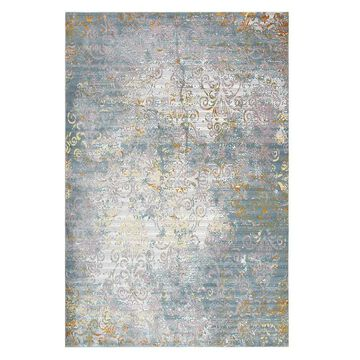 Rizzy Home Princeton Distressed Scroll Vine Rug, Blue, 5X7 Ft