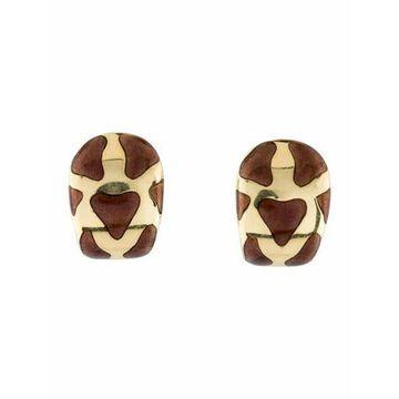 18K Enamel Clip-On Earrings yellow