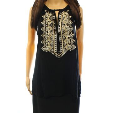 INC International Concepts Women's Embroidered Top Deep Black Size S