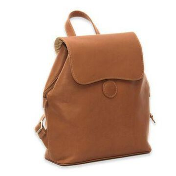 Piel Leather Flap-Over Button Backpack in Saddle