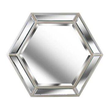 Kenroy Home Pantera 34-Inch Hexagonal Mirror in Silver