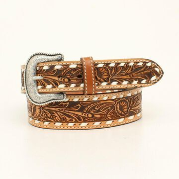 Nocona N2300848-44 Mens Cheyenne Laced Edge Embossed Belt & Buckle, Natural - Size 44