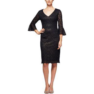Alex Evenings Womens Lace Metallic Cocktail Dress