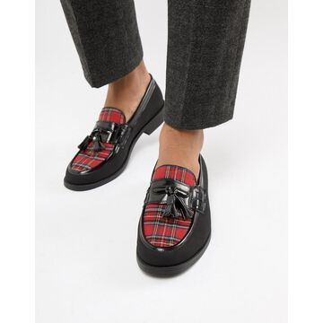 Truffle Collection Plaid Loafer in Black & Red