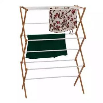 Household Essentials Collapsible Clothes Drying Rack in Natural/White