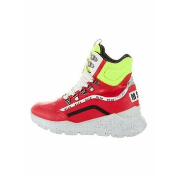 Msgm Leather Colorblock Pattern Sneakers Red Msgm Leather Colorblock Pattern Sneakers