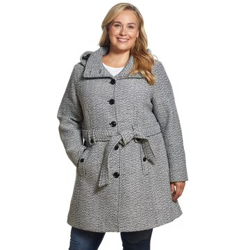 Plus Size Gallery Hood Belted Wool Coat