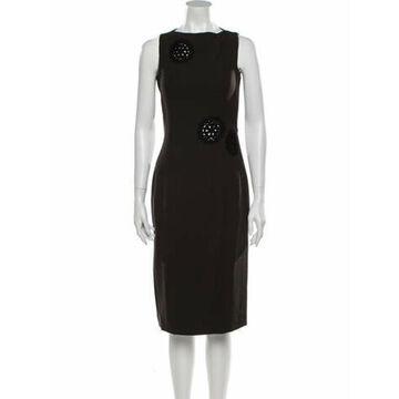 Silk Midi Length Dress Brown
