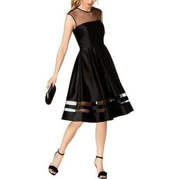 Betsy & Adam Womens Satin Illusion Cocktail Dress