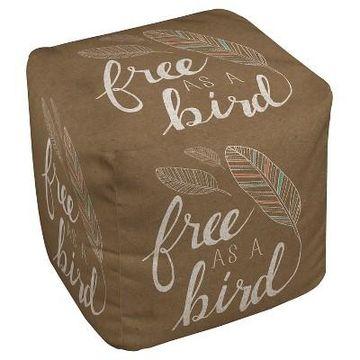 Taupe Brown Free As Bird Pouf (18