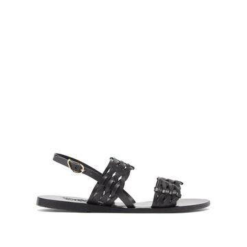 Ancient Greek Sandals - Dinami Slingback Woven-leather Sandals - Womens - Black