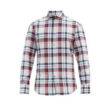 Brunello Cucinelli - Checked Cotton-poplin Shirt - Mens - White Multi
