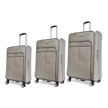 Adrienne Vittadini Faux Pebble Grain Grey 3-piece Spinner Upright Luggage Set - 3 piece set