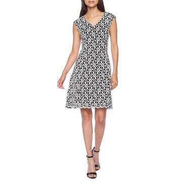 Ronni Nicole Sleeveless Geometric Fit & Flare Dress