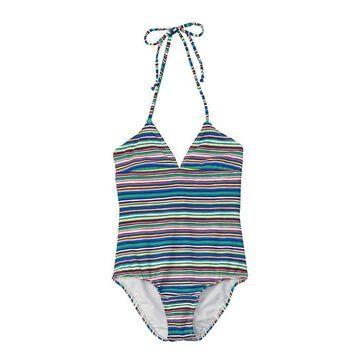 Ella Moss Blue Pink Girls Size 12 Halter Striped Swimsuit Swimwear