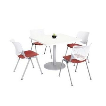 KFI KOOL Table & Chair set, White Table Top (36 inch table top - White/Coral)
