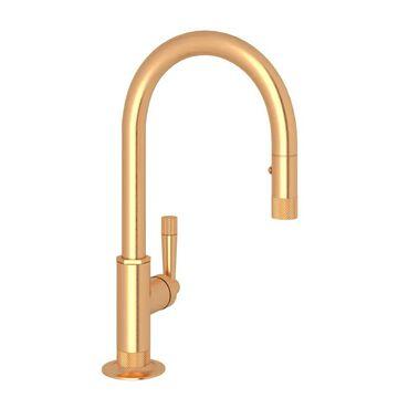 Rohl MB7930SLM-2 Graceline Pull-Down Bar/Food Prep Kitchen Faucet Satin Gold Faucet Bar Single Handle