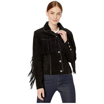 Scully Suede Jacket with Fringe and Turquoise Snaps (Black) Women's Jacket