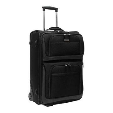 Traveler's Choice Black Conventional II 26-inch Rugged Wheeled Upright Suitcase (One Size)