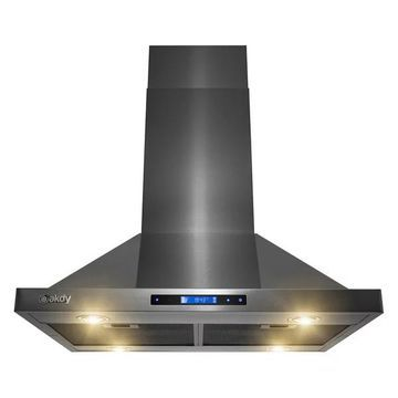 AKDY 30a Island Mount Black Stainless Steel Range Hood 3 Speed Touch