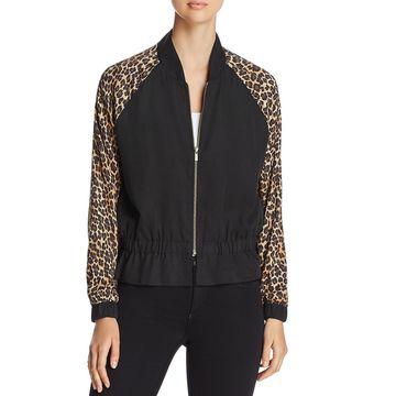 Three Dots Womens Leopard Print Outerwear Bomber Jacket