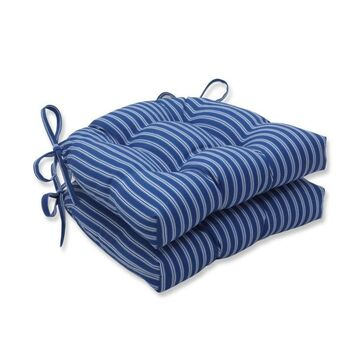 Pillow Perfect Resort Stripe Blue 2-Piece Blue Patio Chair Cushion Polyester