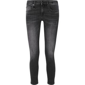R13 - Kate Distressed Low-rise Skinny Jeans - Black