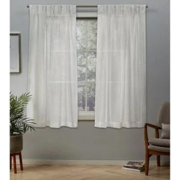 ATI Home Belgian Jacquard Sheer Double Pinch Pleat Top Curtain Panel Pair (Snowflake - 63 Inches - 50x63)