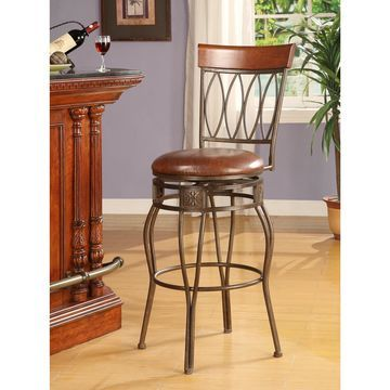 Linon Bronze Bar Stool, Elliptical Back Design