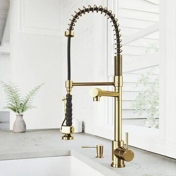 VIGO Zurich Matte Gold 1-Handle Deck-Mount Pull-Down Handle Kitchen Faucet | VG02007MGK2