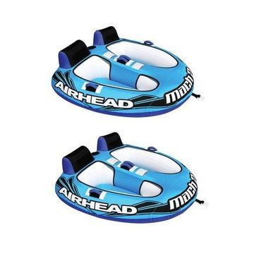 ''Airhead Mach 2 Inflatable 2 Rider Cockpit Lake Water Towable Tube, Blue (2 Pack)''
