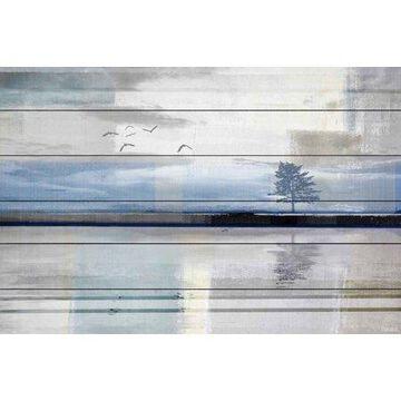 "Parvez Taj Shimmering Reflection White Wood Wall Art, 24"" x 36"""