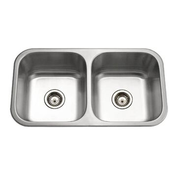 HOUZER Medallion Undermount 31.5-in x 17.9375-in Lustrous Satin Double Equal Bowl Kitchen Sink Stainless Steel | MD-3109-1