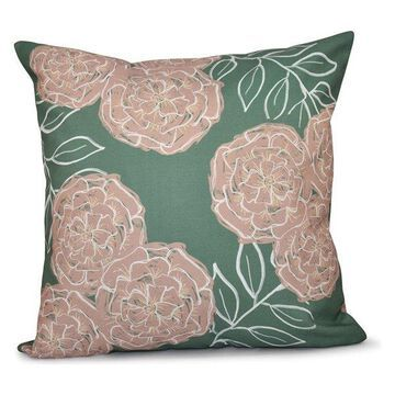 Mums The Word Floral Print Pillow, Succulent, Green, Taupe, 20