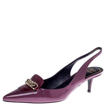 Roger Vivier Burgundy Patent Leather Chain Detail Slingback Sandals Size 35